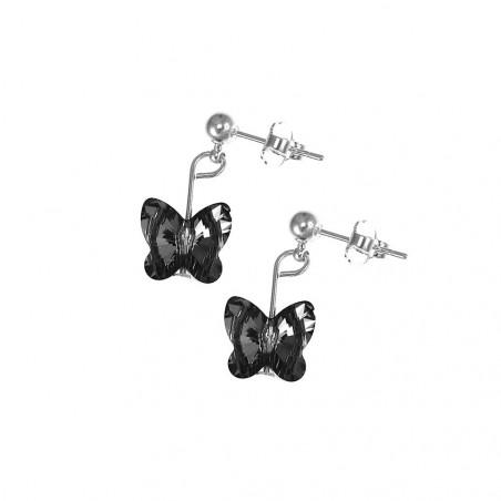 Boucles d'oreilles So Charm ornées d'un papillon noir made with crystal from Swarovski