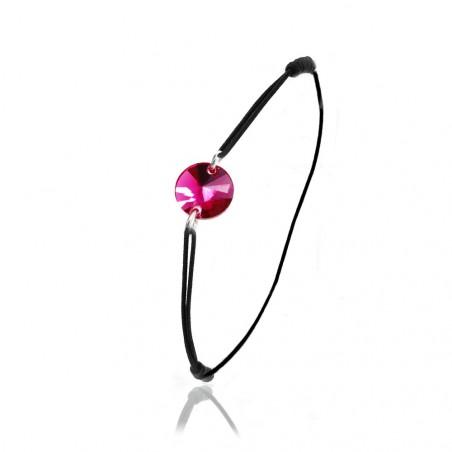 Bracelet élastique noir So Charm made with Crystal from Swarovski rose