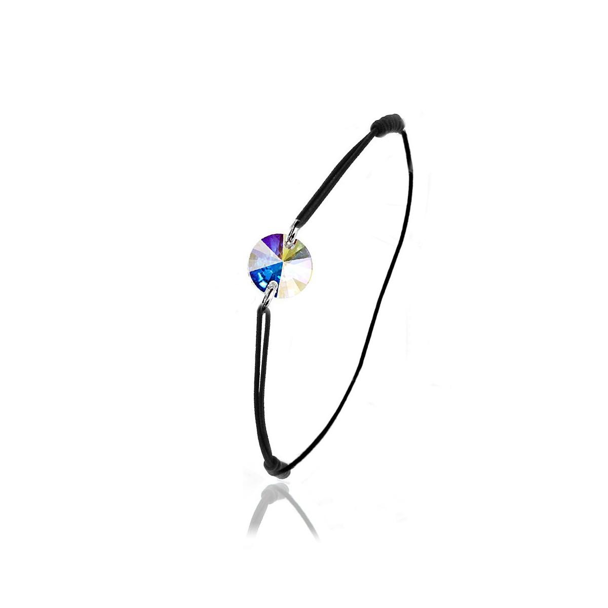 BS014-SB049-IRIS Bracelet élastique So Charm orné d'un cristal irisé made with crystal from Swarovski