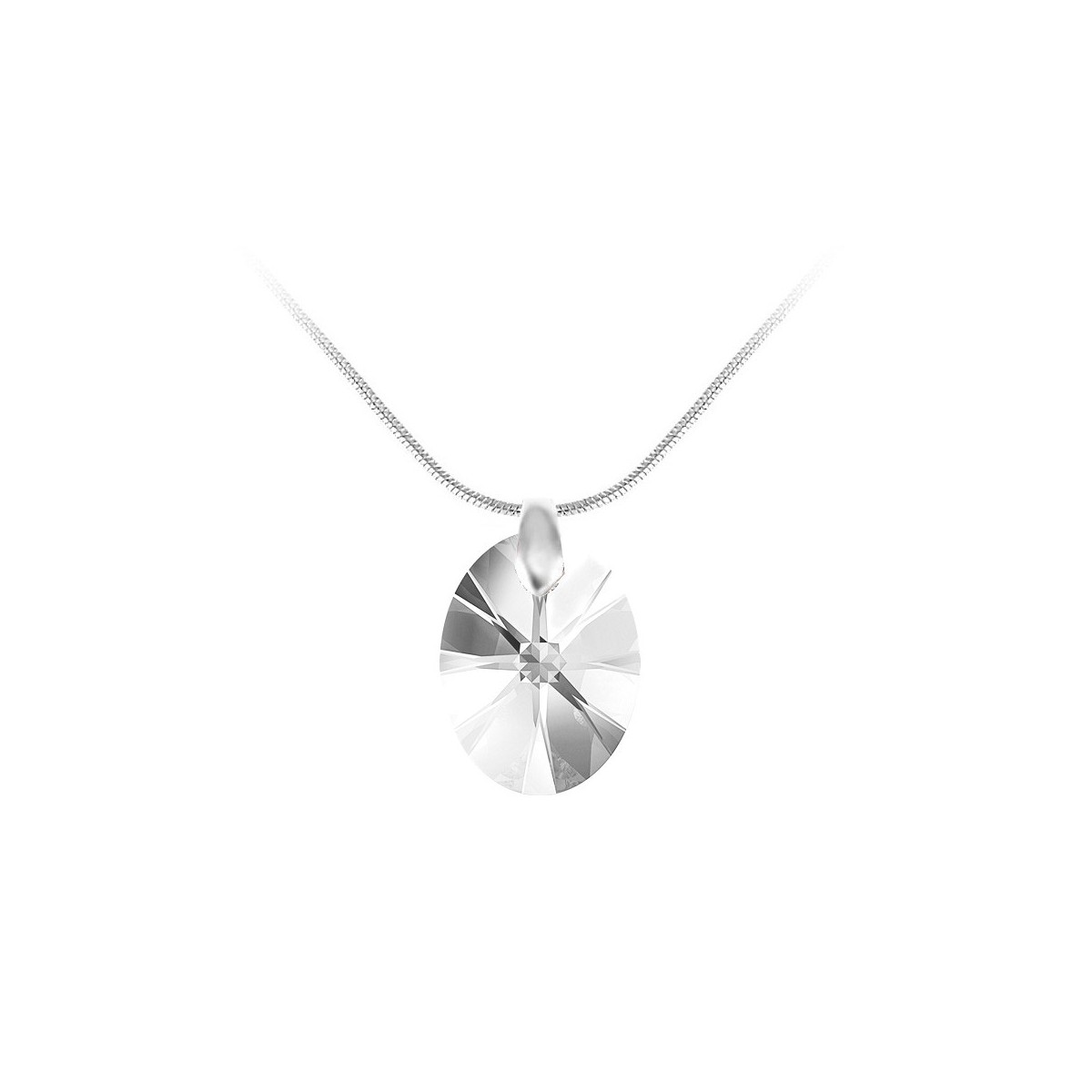 Collier argenté et goutte blanche So Charm made with Crystal from Swarovski