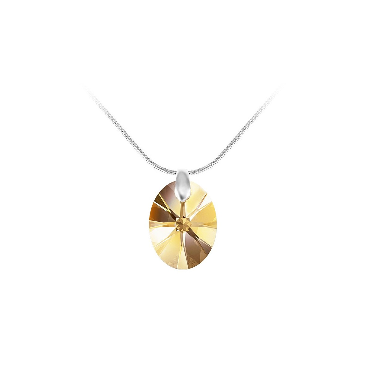Collier argenté et goutte jaune So Charm made with Crystal from Swarovski