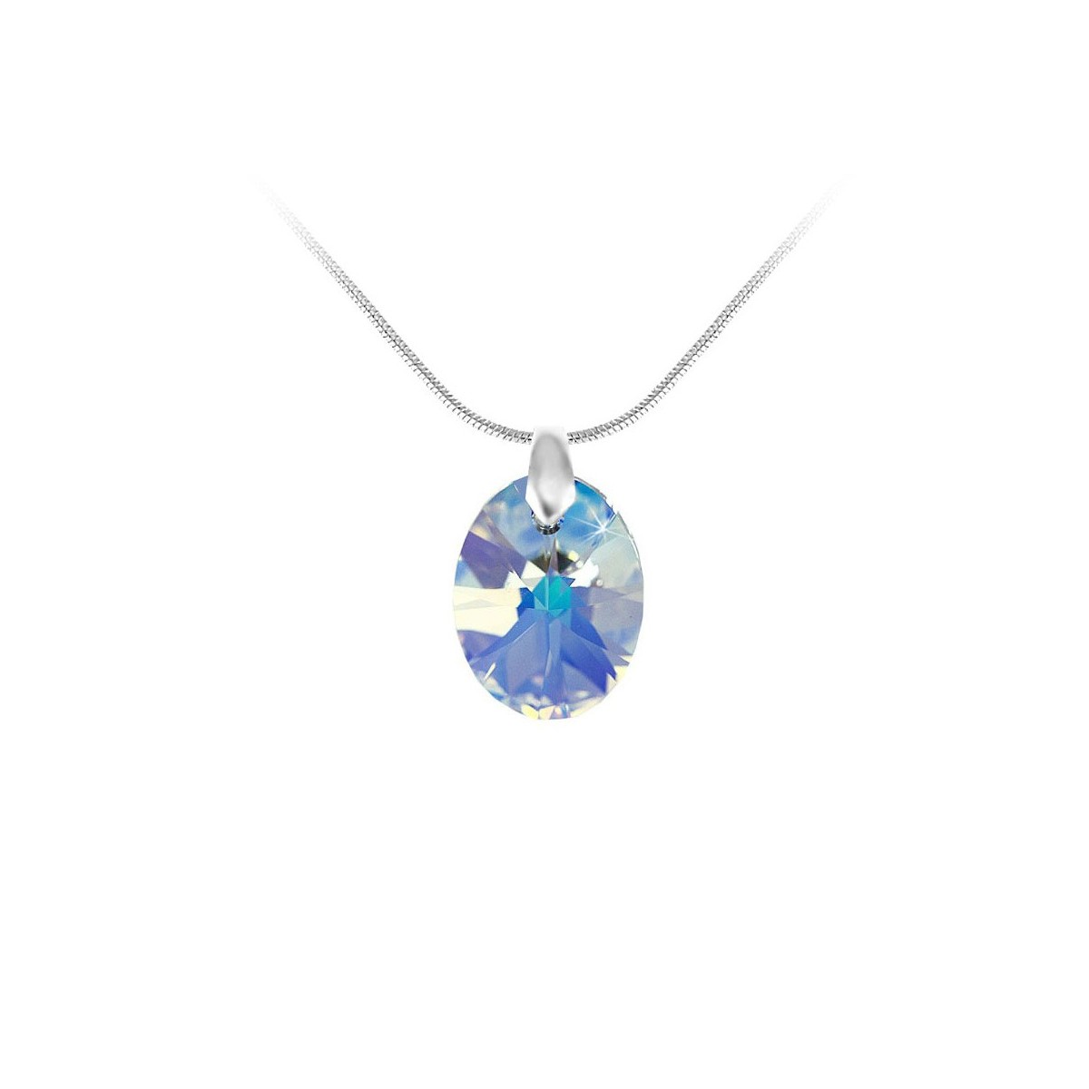Collier argenté et goutte irisé So Charm made with Crystal from Swarovski