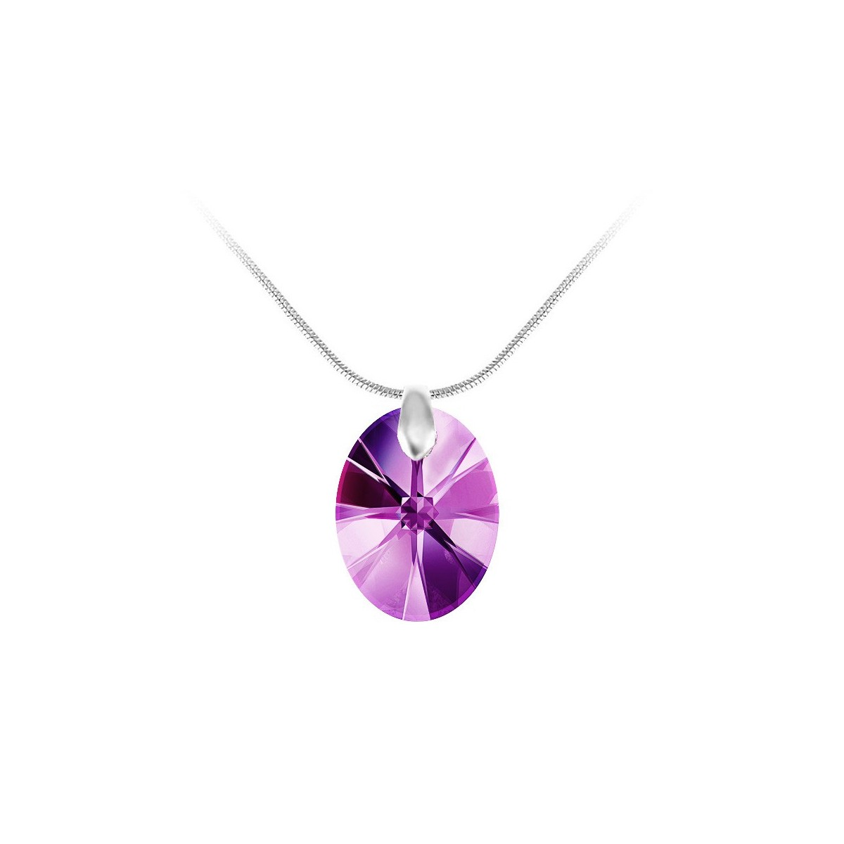 Collier argenté et goutte violette So Charm made with Crystal from Swarovski