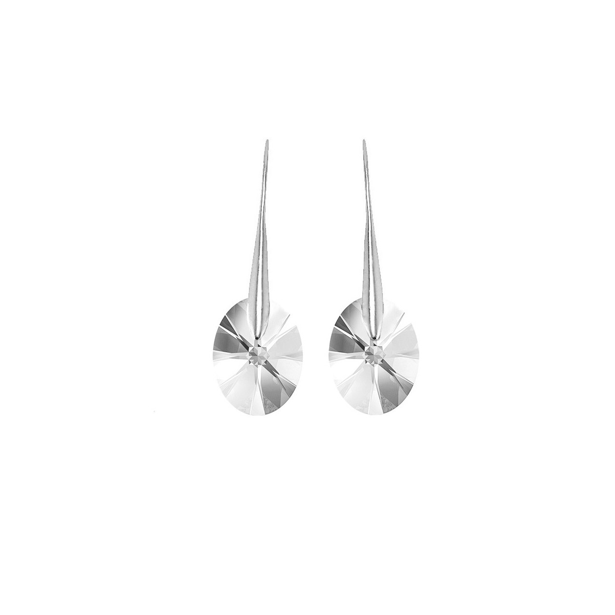 Boucles d'oreilles So Charm ornées d'un cristal ovale blanc made with crystal from Swarovski