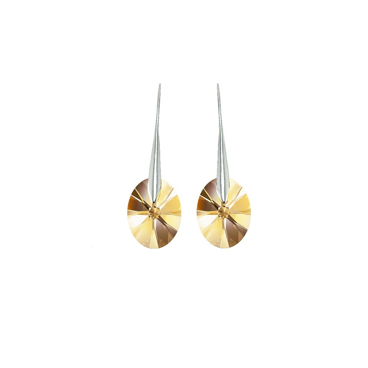 Boucles d'oreilles So Charm ornées d'un cristal golden shadow made with crystal from Swarovski
