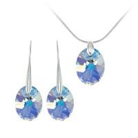 Parure collier et boucles d'oreilles argentées So Charm made with Crystal from Swarovski irisé