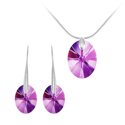BS0049-SN016+BS008-SE003-AMET Parure collier et boucles d'oreilles argentées So Charm made with Crystal from Swarovski violet