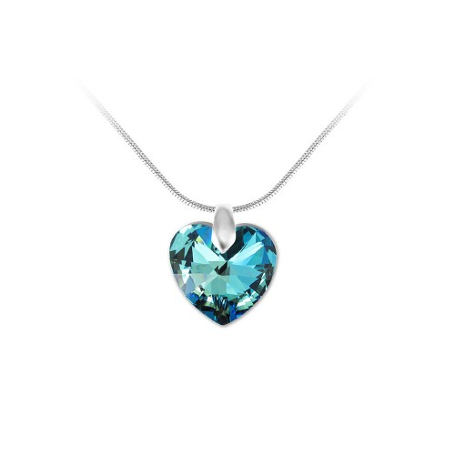 Collier argenté et coeur bleu So Charm made with Crystal from Swarovski