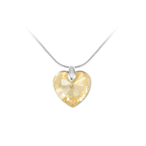 Collier argenté et coeur golden So Charm made with crystal from Swarovski