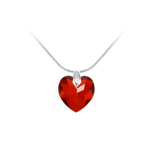 Collier argenté et coeur rouge So Charm made with crystal from Swarovski