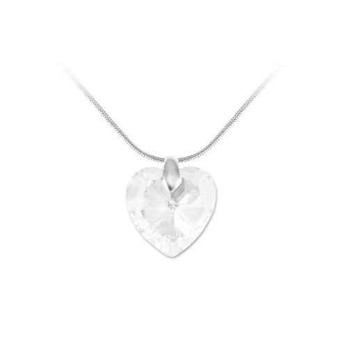 Collier argenté et coeur blanc So Charm made with crystal from Swarovski