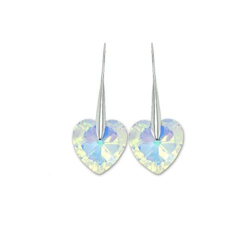 Boucles d'oreilles So Charm ornées d'un coeur irisé made with crystal from Swarovski