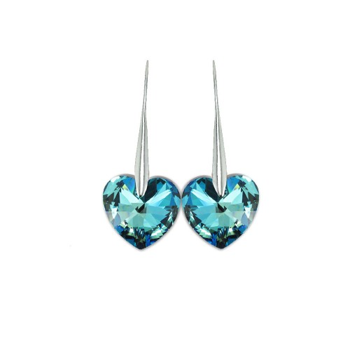 Boucles d'oreilles So Charm ornées d'un coeur bleu made with crystal from Swarovski