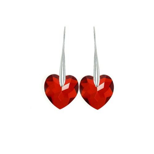 Boucles d'oreilles So Charm ornées d'un coeur rouge made with crystal from Swarovski