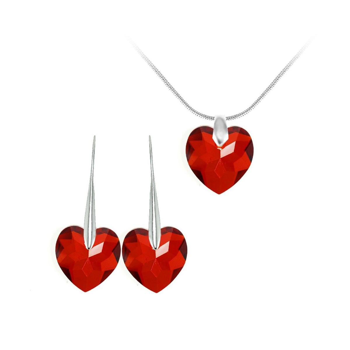 Parure collier et boucles d'oreilles argentés et coeurs rouge So Charm made with Crystal from Swarovski