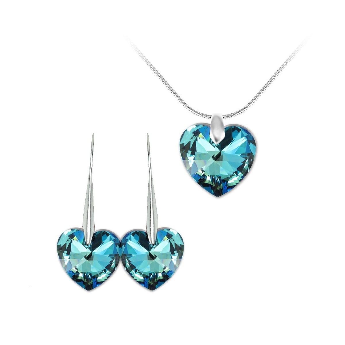 Parure collier et boucles d'oreilles argentés et coeurs bleus So Charm made with Crystal from Swarovski