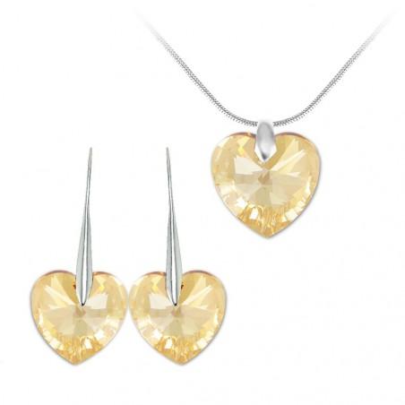 Parure collier et boucles d'oreilles argentés et coeurs So Charm made with Crystal from Swarovski