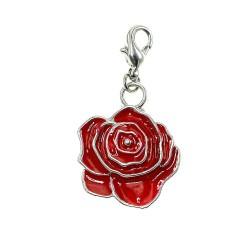 Breloque charm fleur rouge...