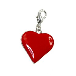 Breloque charm coeur rouge...