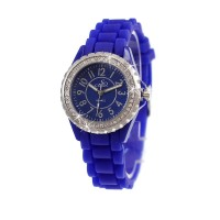 Montre femme bracelet silicone bleu So Charm made with crystal from Swarovski Elements