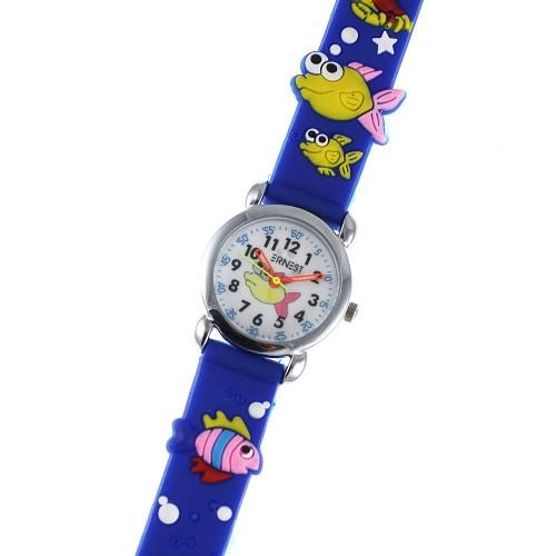 Montre enfant poissons bracelet silicone bleu