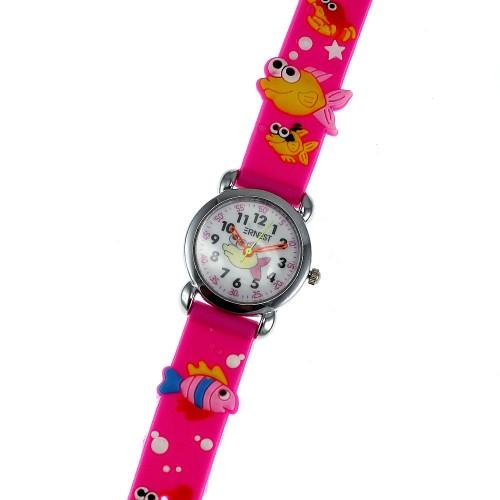 Montre enfant poissons bracelet silicone rose