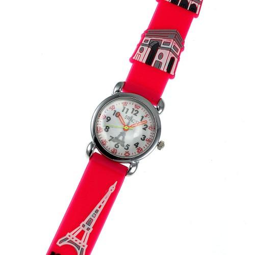 Montre enfant Tour Eiffel Paris bracelet silicone rose