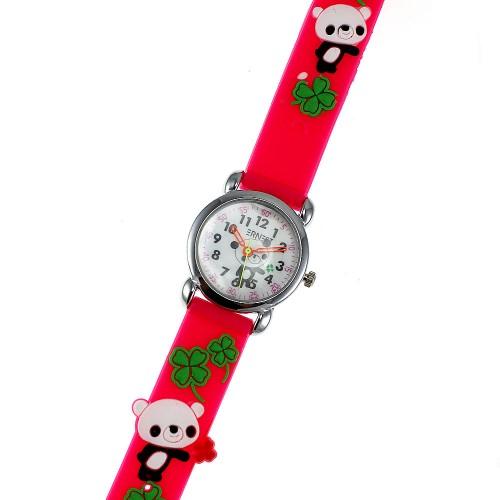 Montre enfant panda et trèfle vert bracelet silicone rose