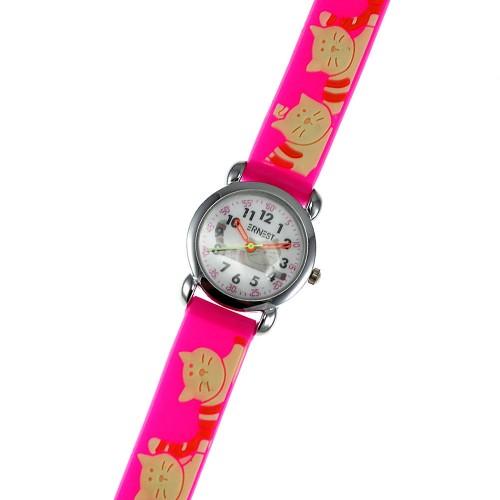 Montre enfant chats bracelet silicone rose