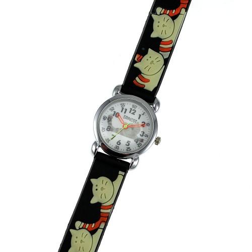Montre enfant chats bracelet silicone noir