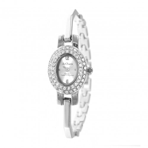Montre ovale argentée So Charm made with crystal from Swarovski