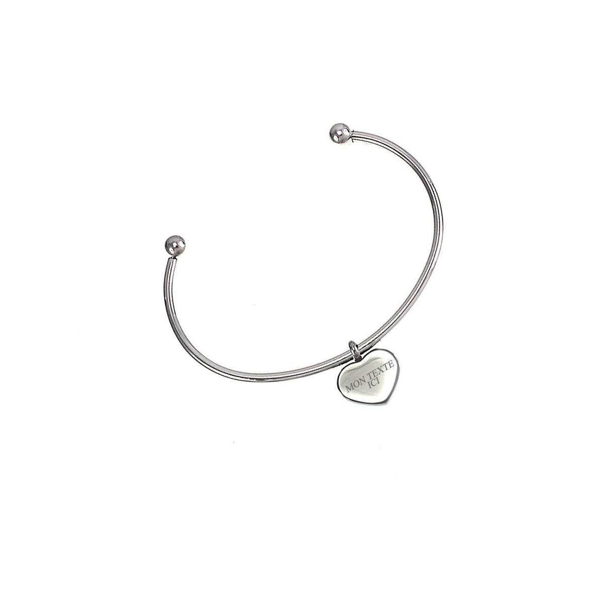Bracelet jonc en acier inoxydable et coeur à graver