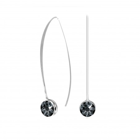 Boucles d'oreilles point de lumière noir So Charm made with crystal from Swarovski