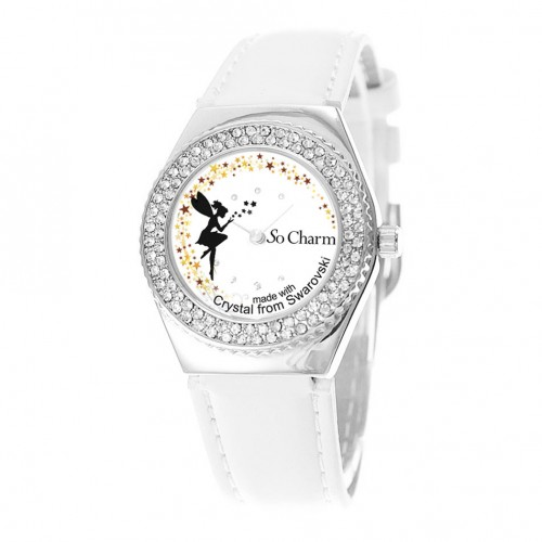 Montre mouvement tournant en forme de fée made with crystal from Swarovski