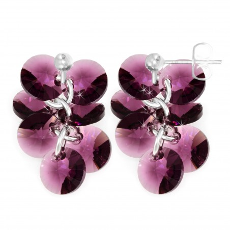 Boucles d'oreilles mode So Charm made with crystal from Swarovski violet