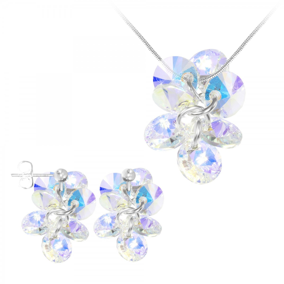 Parure collier et boucles d'oreilles mode So Charm made with Crystal from Swarovski irisé