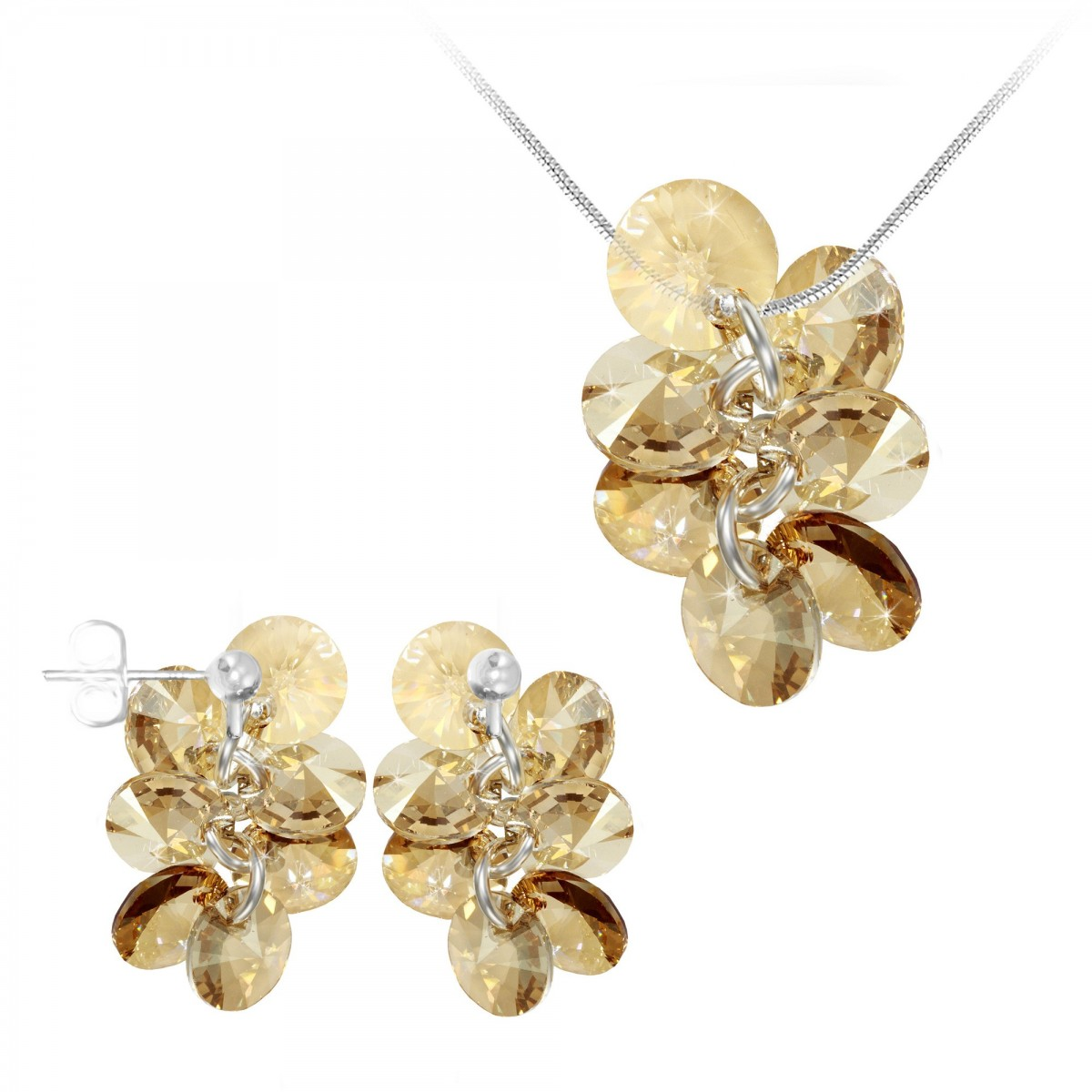 Parure collier et boucles d'oreilles mode So Charm made with Crystal from Swarovski golden