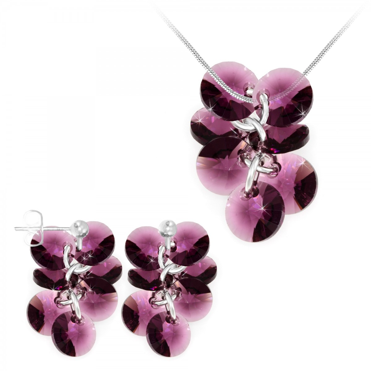 Parure collier et boucles d'oreilles mode So Charm made with crystals from Swarovski amethyst