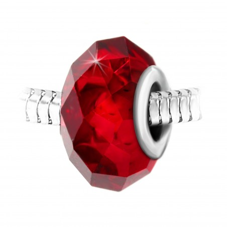 Charm perle cristal rouge à facettes et acier par So Charm
