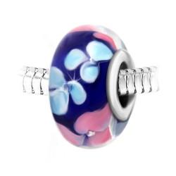 Blue glass flower pearl...