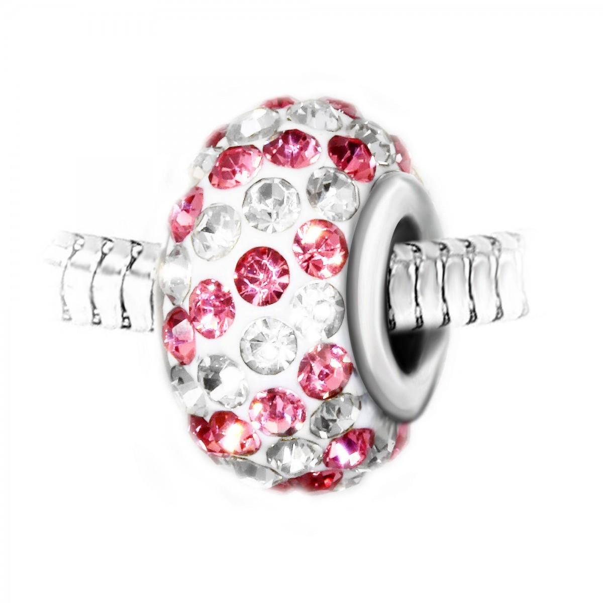 Charm perle pavé de cristaux roses et blancs et acier par So Charm