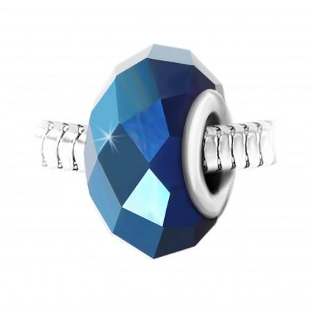 Charm perle cristal bleu à facettes et acier par So Charm