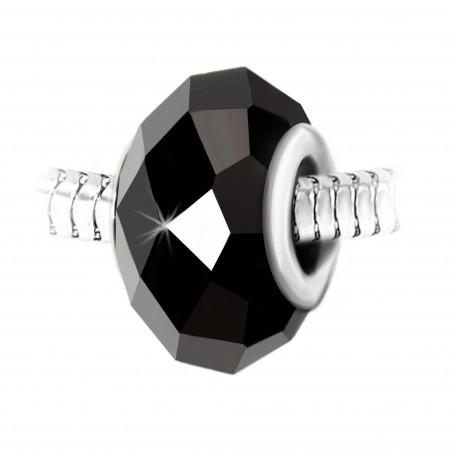 Charm perle cristal noir à facettes et acier par So Charm