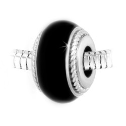 Charm perle noir acier par...