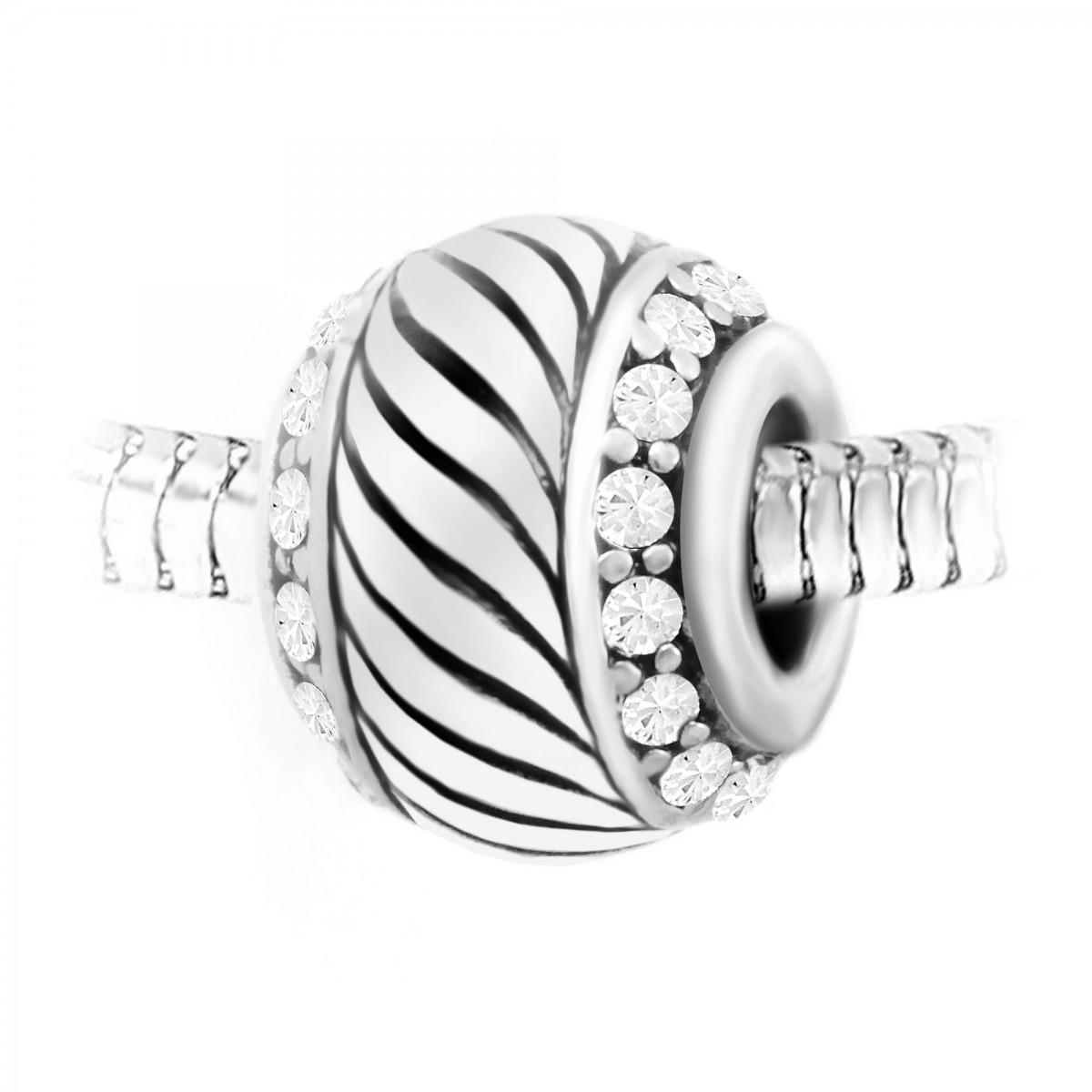 Charm perle orné de cristaux de Bohème et acier par So Charm