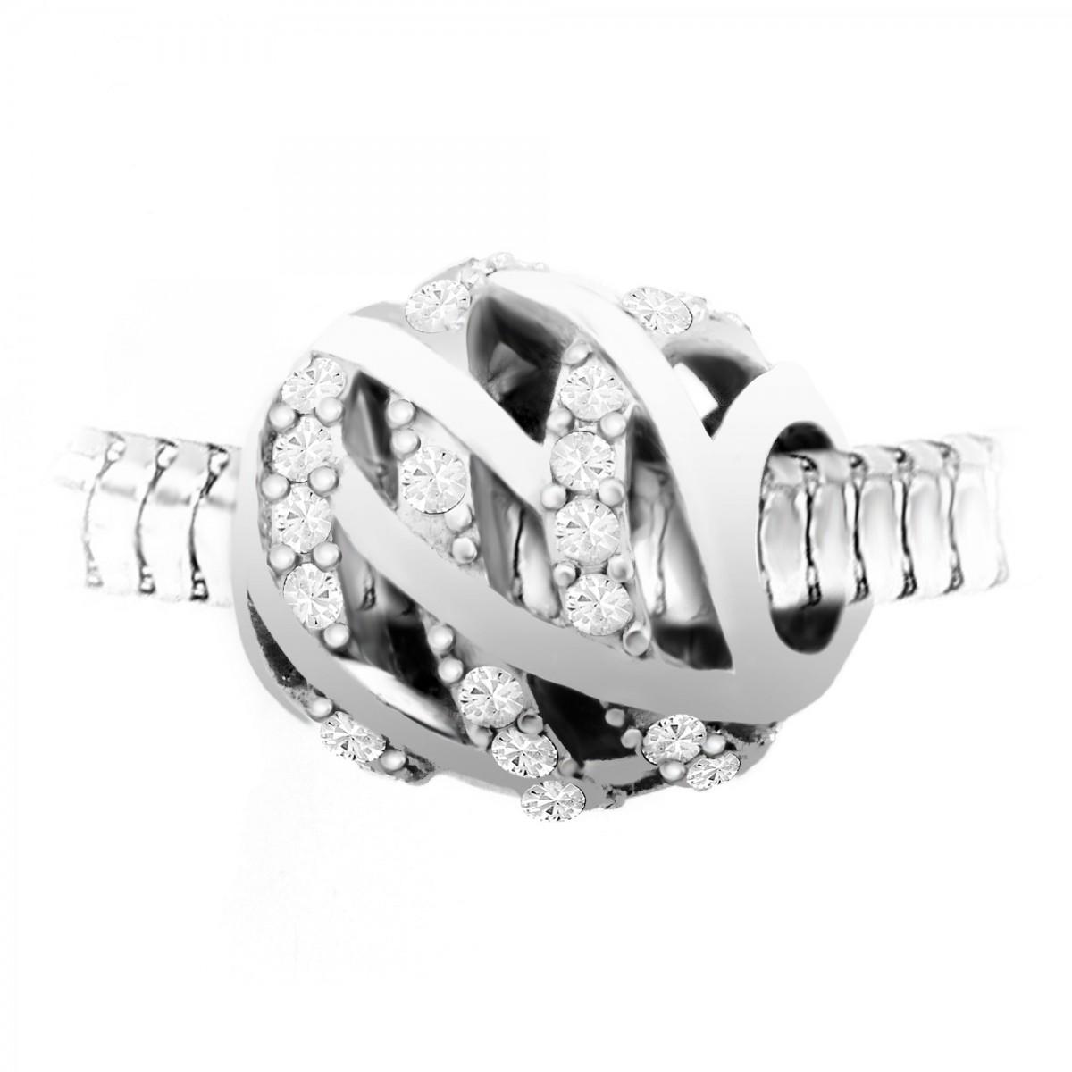 BEA0062 Charm perle orné de cristaux de Bohème par So Charm