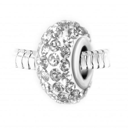 Charm perle pavé de cristaux blancs et acier par So Charm