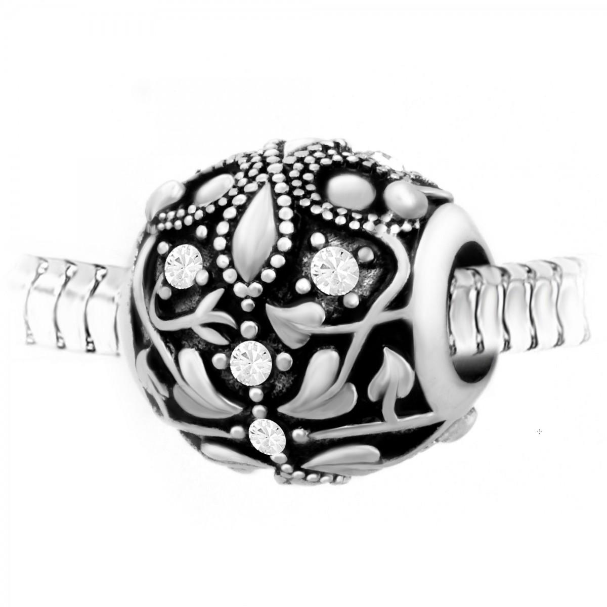BEA0057 Charm perle ornemental orné de cristaux et acier par So Charm