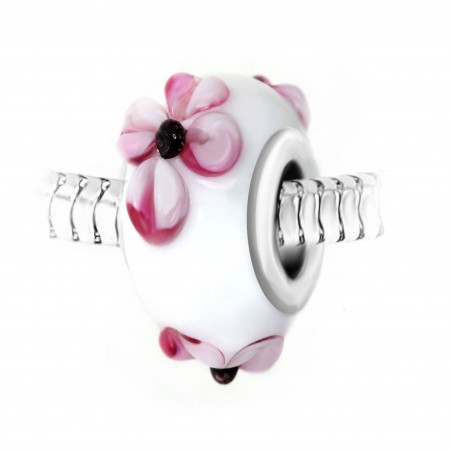 Charm perle blanc fleurs roses verre décoré main et acier par So Charm