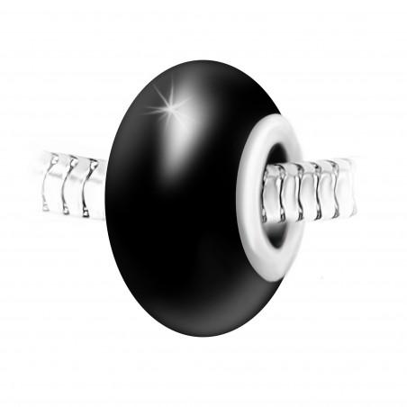 Charm perle verre noir et acier par So Charm
